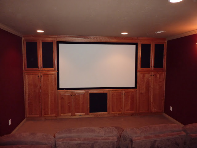 Large screen and custom built cabinets